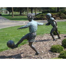 Bronze Boy Playing Soccer Sculpture For Sale