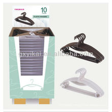 Set of 10pcs promotional plastic hanger packed with display carton