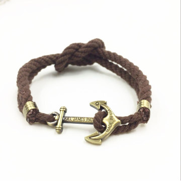 China for Men'S Rope Bracelet,Custom Men'S Rope Bracelet,Leather Rope Bracelet Manufacturer in China Handmade Design Cotton Rope Anchor Bracelet For Men export to India Factories