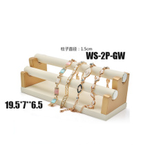 Белый золотой кожаный PU 2 уровня Держатель стойки браслета (TY-2P-GW)