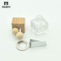 wholesale aroma diffuser 5ml air outlet square empty car perfume bottle with wooden cap