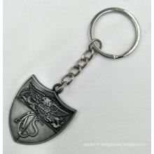 Porte-clés en métal blanc plaqué antique personnalisé