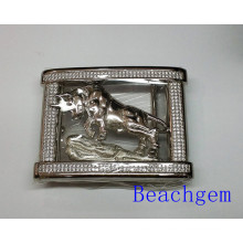 Chinese Zodiac Ox Sterling Silver Belt Buckle for Man