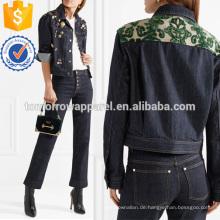 Beflockte Jacquard-getrimmt verschönert Jeansjacke Herstellung Großhandel Mode Frauen Bekleidung (TA3033C)