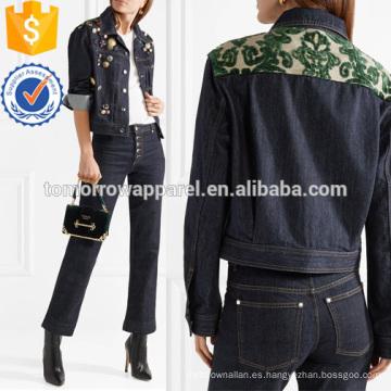 Chaqueta de mezclilla adornada con Jacquard y embellecido Fabricación al por mayor de prendas de vestir de las mujeres de moda (TA3033C)