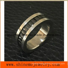 Shineme Jewelry Fashion Black Stone Inlaid Titanium Ring  (TR1916)