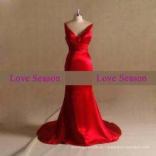 LSM006 V-neck com cintos ou festa de pescoço vestido de baile luxo vestido de noite de sereia