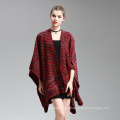 Womens Cashmere fühlen Welle Printing Fancy Cape Stola Poncho Schal (SP295)