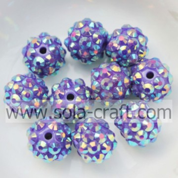 10 * 12MM AB viola scuro resina solida strass perline collana accessorio