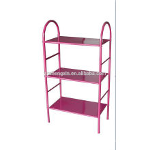 Steel Pipe Pink Shoe Shelf Three Tiers for Home