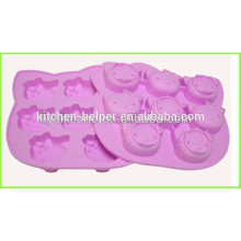 Hot selling Hello kitty face silicon cupcake mold 8