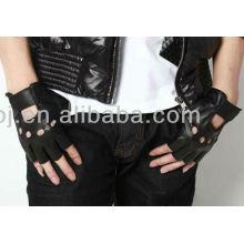 2013 elegantes luvas de desgaste de couro preto dedo fingerless