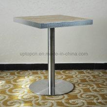 Table de restaurant en bois stratifié à joint en acier inoxydable moderne (sp-rt468)