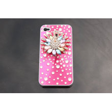 Personalized Jeweled Peafowl Flower Diamond Apple Bling Bling Iphone 4 4s Cases Back Cover