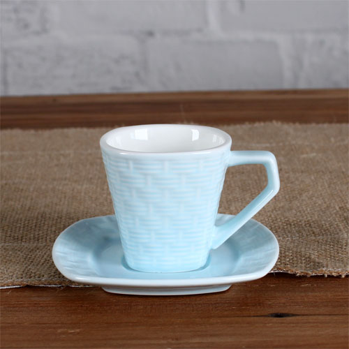 3oz woven pattern cup and saucer