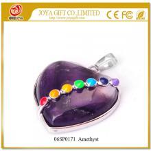 Seven Chakras Gemstone Amethyst Heart Pendant