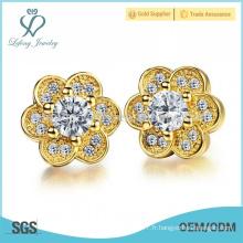 Vintage boucles d'oreilles à fleurs de cuivre, pendentifs à fleurs en cristal bijoux