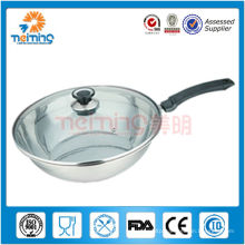 28cm stainless steel frying pan with glass lid
