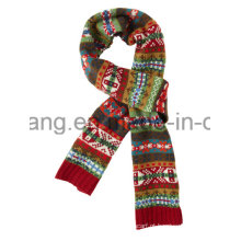 Moda inverno quentes malha acrílica jacquard lenço longo