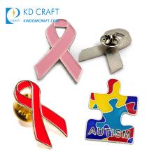 No Minimum Bulk Cheap Custom Shaped Metal Stamping Enamel Breast Cancer Aids Autism Awareness Ribbon Lapel Pin for Sale