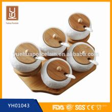 Jarras de especiarias de bambu cerâmicas brancas de cozinha moderna para venda