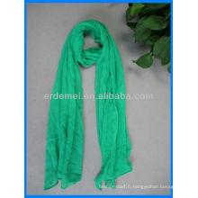 Vente de foulard en coton vert de couleur unie