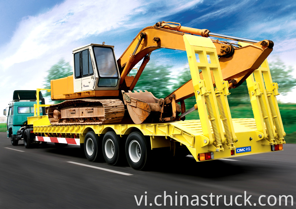 CAT excavator transportation low bed trailer