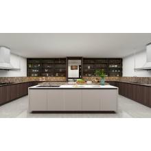Armários de cozinha modernos da cor de madeira