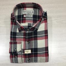Camisa de franela de manga larga 100% algodón masculino de moda