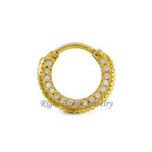 Único Septo Clicker Banhado A Ouro Septum Fancy Nose Ring Jóias