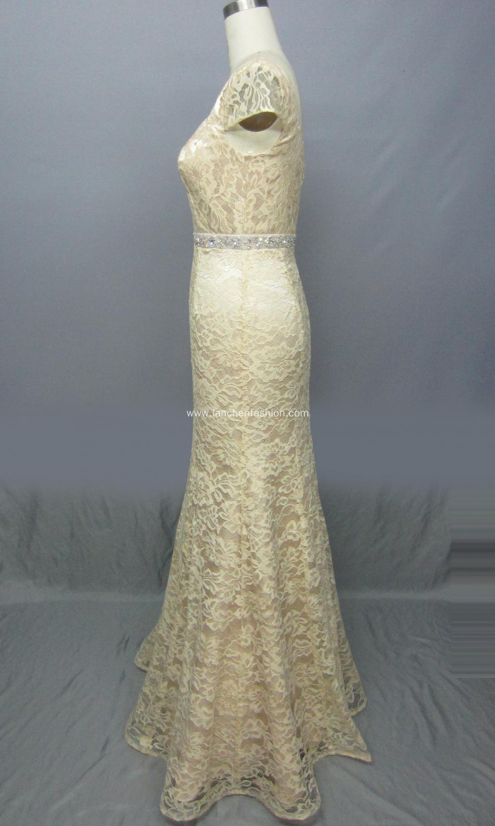 Cap Sleeve Lace Evening Dress