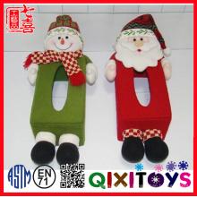Boîte en tissu drôle décorative de Noël en peluche pour la décoration de table
