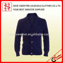 Suéter de lana de rebeca azul de moda de los hombres