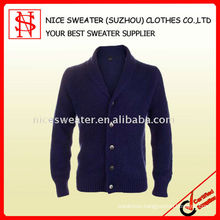 Men's fashion blue cardigan wool sweater