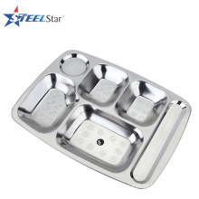 Food grade stainless steel school lunch tray compartment food tray