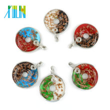 New Design Dichroic Flat Round Lampwork Pendant Necklace Pendant With Metal Edge 12pcs / box MC0003