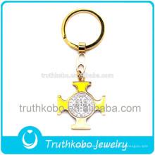 Venta caliente de moda religiosa acero inoxidable chapado en oro rosario medalla llaveros con esmalte amarillo San Benito medallas para musulmanes