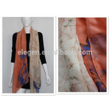 100% polyester flower printing long big shawl scarf