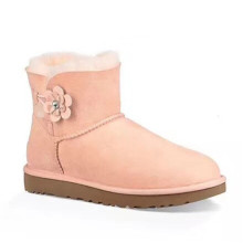 Hot Sale for Womens Leather Winter Boots women Button Poppy Flower winter Snow sheepskin Boots export to Lebanon Manufacturer