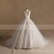 Nuevo estilo magnífico V Neck Applique Lace Puff Ball Gown vestido de novia Gran tren largo
