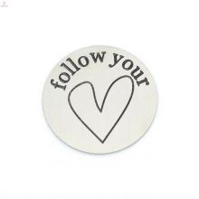 Nouveau design argent suivre votre coeur lettre 22mm 316l plaques en acier inoxydable bijoux
