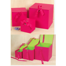 Red Square Gift Paper Box of Top Flap Lid with Ribbon Closure