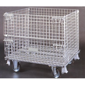 Låsbar Folding Pallet Storage Cage With Wheels