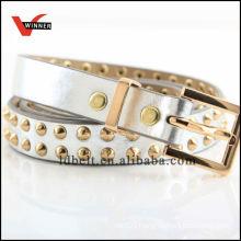 Skinny Golden Rivet Girl's Dressy PU Belts
