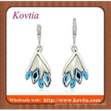 Mode Kristall Kronleuchter auf Taobao weißes Gold überzogene flache Rückseite blauen Kristall baumeln Ohrring
