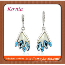 Fashion crystal chandeliers on taobao white gold plated flat back blue crystal dangle earring