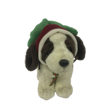 Плюшевая собака с рождественской шляпой