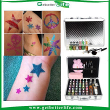 2015 getbetterlife summer hot selling Sparkle Glitter Tattoo Kit 38 Colors /glitter tattoo set/glitter tattoo