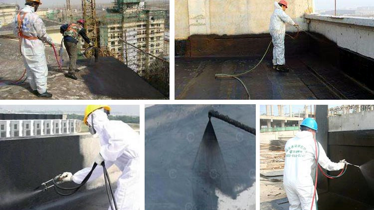 Sprayed quick-setting rubber bitumen waterproof coating