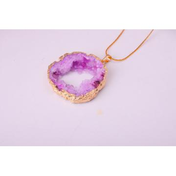 Natural Druzy Agate Crystal Pendant Necklace